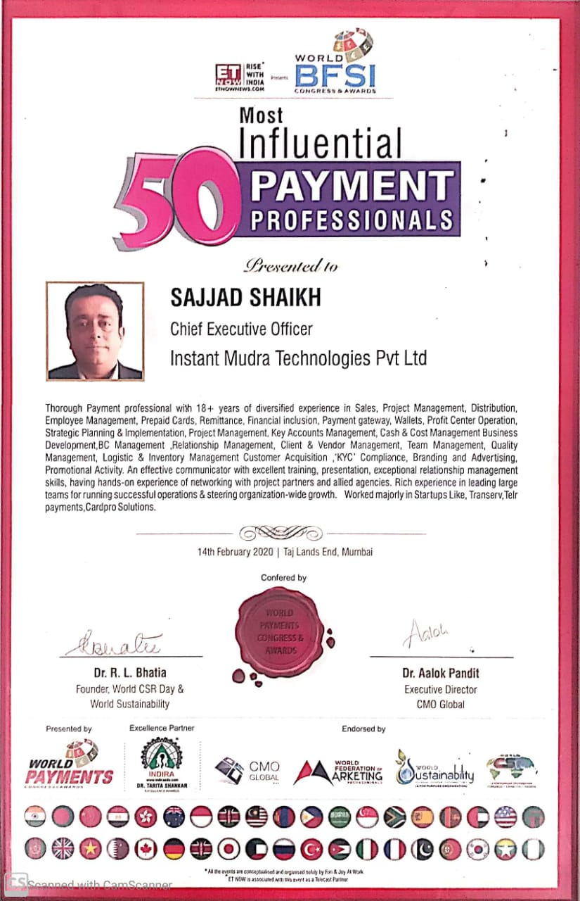 Sajjad Shaikh - Awarded as - One of the most Influential Payment Professional in India.