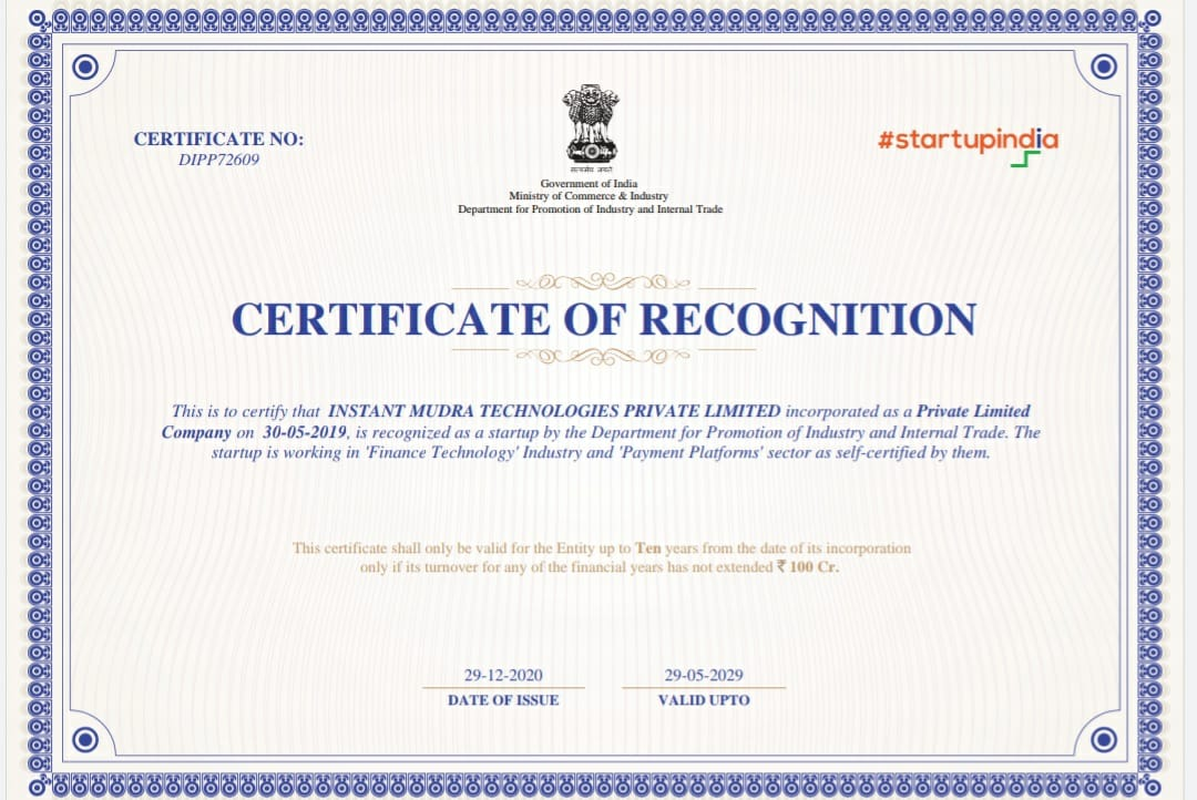 Instant Mudra Technologies Private Limited is a DIPP certified Fin-Tech Organization